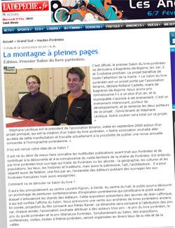 Article sur le Salon du Livre Pyrénéen dans La Dépêche