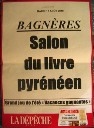 Placard de La Dépêche : Salon du Livre Pyrénéen