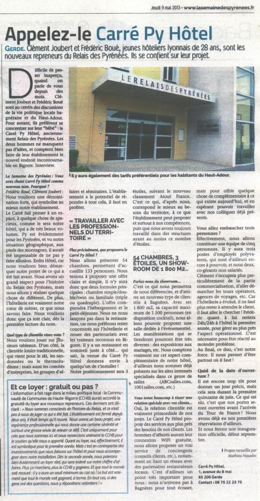 Article sur le Carré Py dans la Semaine des Pyrénées (9 mai 2013)